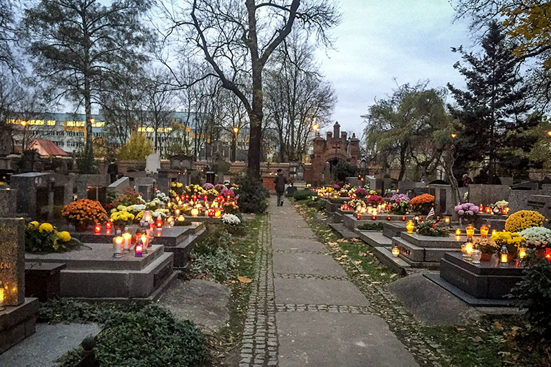 All Saints Day in a Krakow cemetary