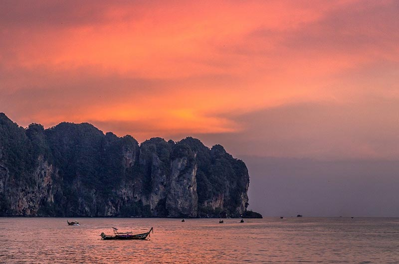 Beautiful sunset in Krabi, Thailand
