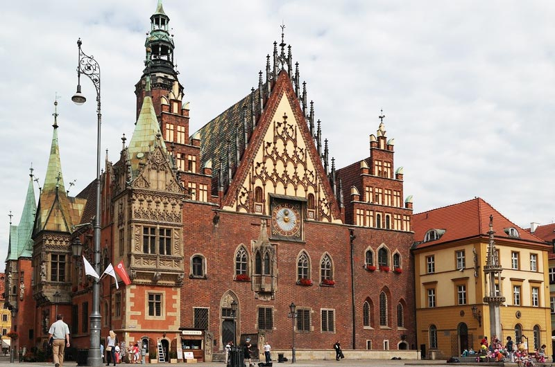 Town Hall in Rynek Market Square in Wroclaw