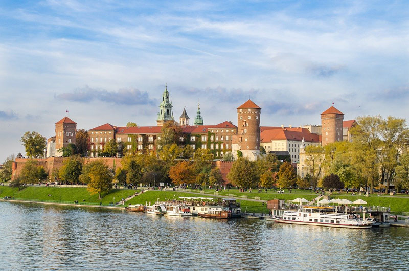 View of Wawel Castle in Krakow across Vistula River