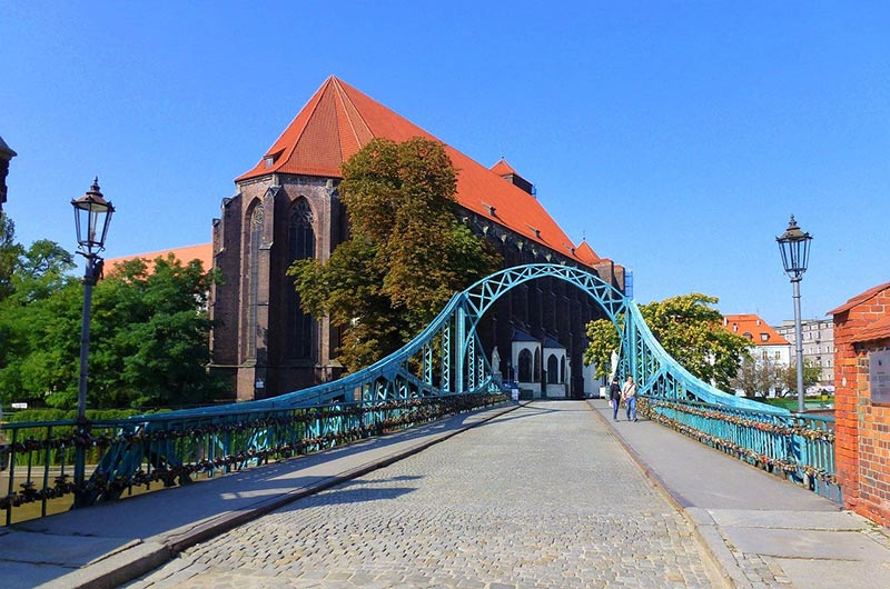 Tumski Bridge or Love Lock Bridge in Wroclaw