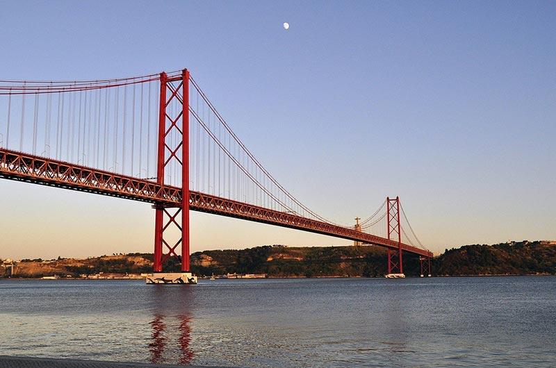 25 de Abril Bridge over River Tagus in Lisbon