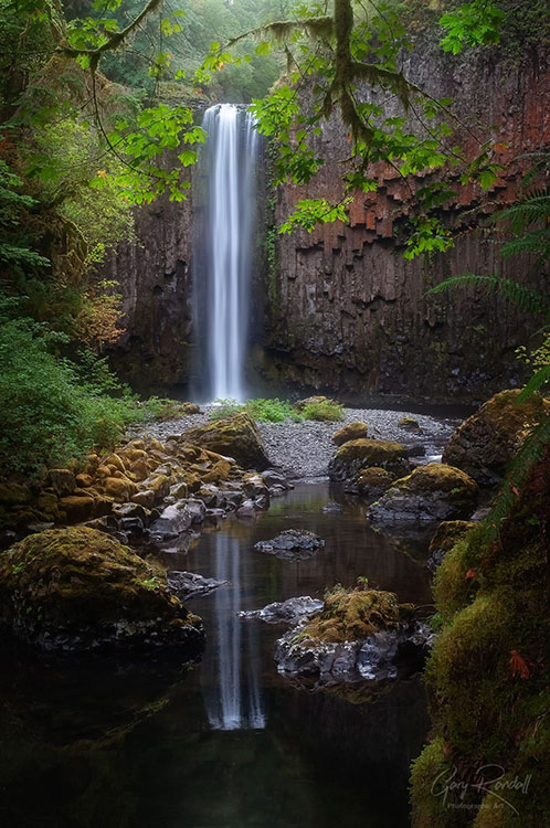 Waterfall reflection at Columbia River Gorge, Pacific Northwest | Photography by Gary Randall