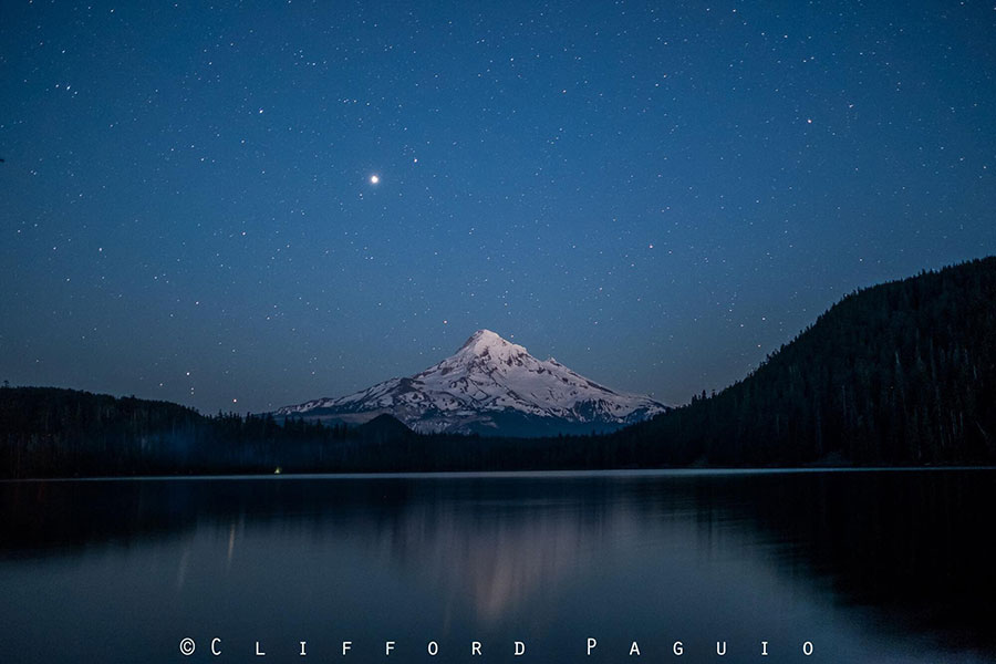 Stars at Lost Lake in Mount hood National Forest