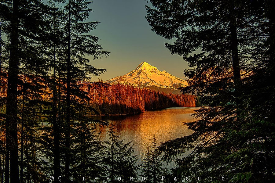 Sunset at Lost Lake and Mount Hood