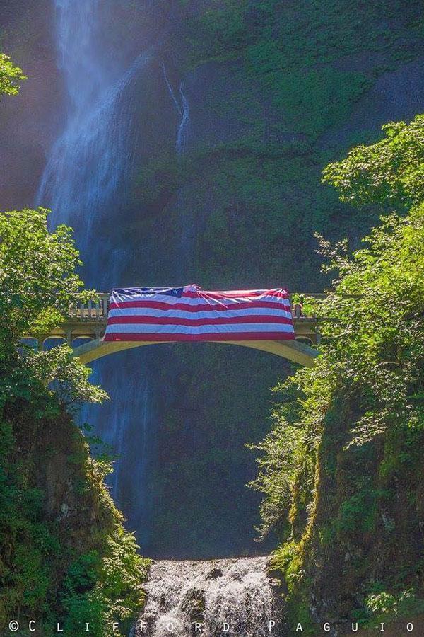 US flag on Multnomah Falls for Memorial Day