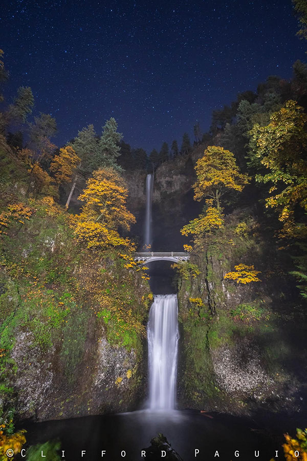 Stars over Multnomah Falls, Oregon