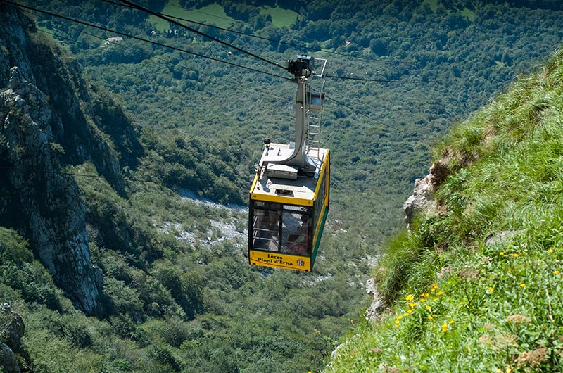 Cable car ride up Piani d'Erna in Lecco