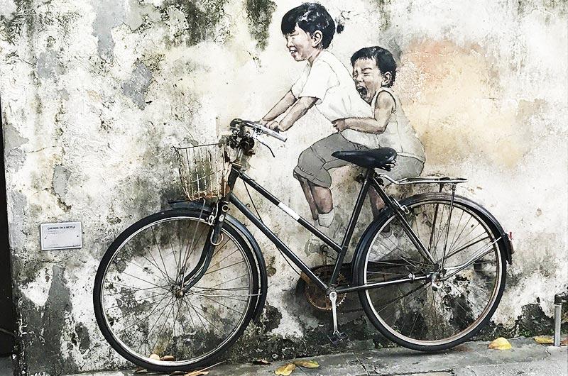 Bicycle street art in Penang