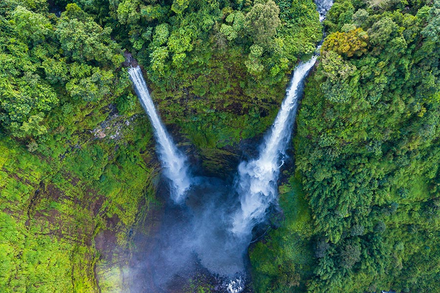 Tad Fane waterfall in rainforest at Pakse and Champasak city Laos