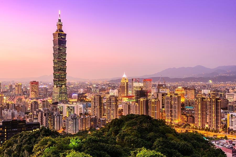 Pink sky views from Taipei 101