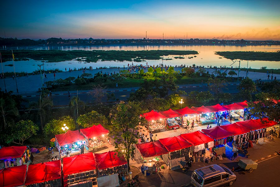 Vientiane Night Market on Mekong River in Vientiane